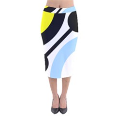 Circle Line Chevron Wave Black Blue Yellow Gray White Velvet Midi Pencil Skirt