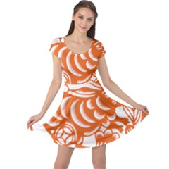 Chinese Zodiac Horoscope Rabbit Star Orange Cap Sleeve Dresses