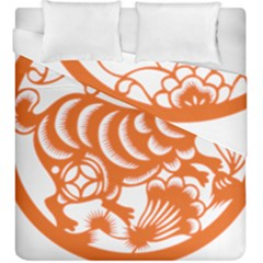 Chinese Zodiac Horoscope Rabbit Star Orange Duvet Cover Double Side (king Size) by Mariart