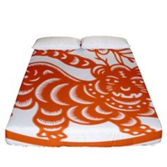 Chinese Zodiac Signs Tiger Star Orangehoroscope Fitted Sheet (california King Size) by Mariart
