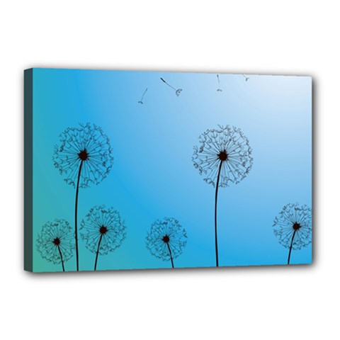 Flower Back Blue Green Sun Fly Canvas 18  X 12  by Mariart