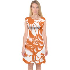 Chinese Zodiac Horoscope Zhen Icon Star Orangechicken Capsleeve Midi Dress by Mariart
