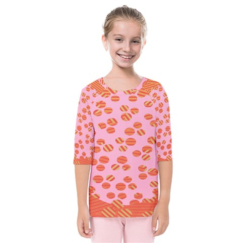 Distance Absence Sea Holes Polka Dot Line Circle Orange Chevron Wave Kids  Quarter Sleeve Raglan Tee by Mariart