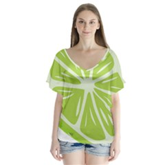 Gerald Lime Green Flutter Sleeve Top