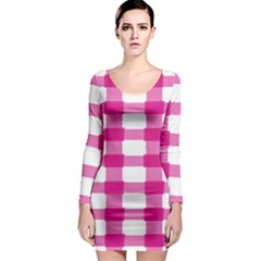 Hot Pink Brush Stroke Plaid Tech White Long Sleeve Bodycon Dress by Mariart