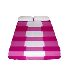 Hot Pink Brush Stroke Plaid Tech White Fitted Sheet (full/ Double Size) by Mariart