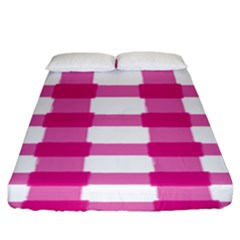 Hot Pink Brush Stroke Plaid Tech White Fitted Sheet (king Size) by Mariart