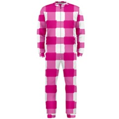 Hot Pink Brush Stroke Plaid Tech White Onepiece Jumpsuit (men)  by Mariart