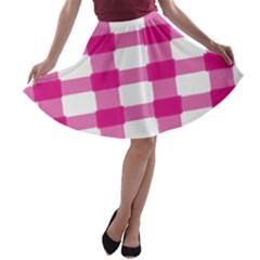 Hot Pink Brush Stroke Plaid Tech White A Line Skater Skirt by Mariart