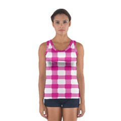 Hot Pink Brush Stroke Plaid Tech White Women s Sport Tank Top  by Mariart