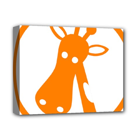 Giraffe Animals Face Orange Deluxe Canvas 14  X 11  by Mariart