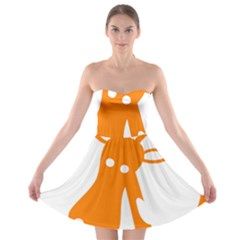 Giraffe Animals Face Orange Strapless Bra Top Dress by Mariart