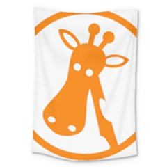 Giraffe Animals Face Orange Large Tapestry by Mariart