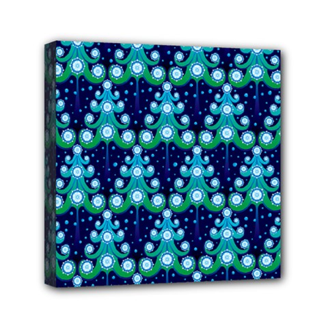 Christmas Tree Snow Green Blue Mini Canvas 6  X 6  by Mariart