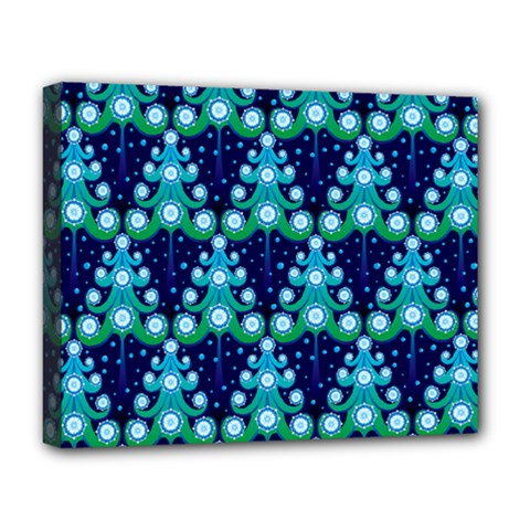 Christmas Tree Snow Green Blue Deluxe Canvas 20  X 16   by Mariart