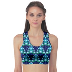 Christmas Tree Snow Green Blue Sports Bra by Mariart