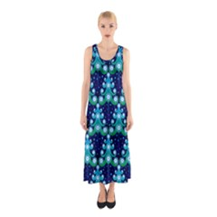 Christmas Tree Snow Green Blue Sleeveless Maxi Dress
