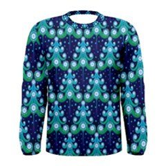 Christmas Tree Snow Green Blue Men s Long Sleeve Tee by Mariart