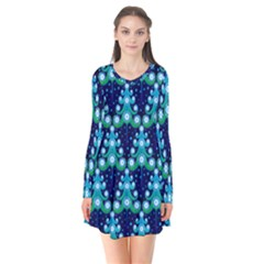 Christmas Tree Snow Green Blue Flare Dress by Mariart