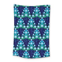 Christmas Tree Snow Green Blue Small Tapestry by Mariart