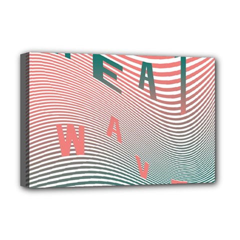 Heat Wave Chevron Waves Red Green Deluxe Canvas 18  X 12   by Mariart
