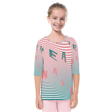 Heat Wave Chevron Waves Red Green Kids  Quarter Sleeve Raglan Tee by Mariart