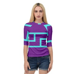 Illustrated Position Purple Blue Star Zodiac Quarter Sleeve Tee