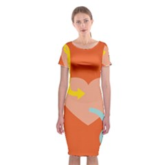 Illustrated Zodiac Love Heart Orange Yellow Blue Classic Short Sleeve Midi Dress by Mariart