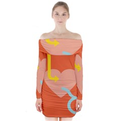 Illustrated Zodiac Love Heart Orange Yellow Blue Long Sleeve Off Shoulder Dress