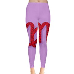 Illustrated Zodiac Purple Red Star Polka Leggings