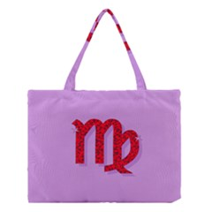 Illustrated Zodiac Purple Red Star Polka Medium Tote Bag by Mariart