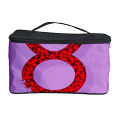 Illustrated Zodiac Purple Red Star Polka Circle Cosmetic Storage Case by Mariart