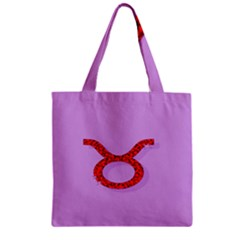 Illustrated Zodiac Purple Red Star Polka Circle Zipper Grocery Tote Bag by Mariart