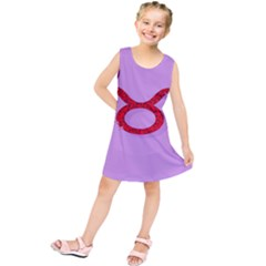 Illustrated Zodiac Purple Red Star Polka Circle Kids  Tunic Dress by Mariart