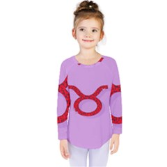 Illustrated Zodiac Purple Red Star Polka Circle Kids  Long Sleeve Tee by Mariart