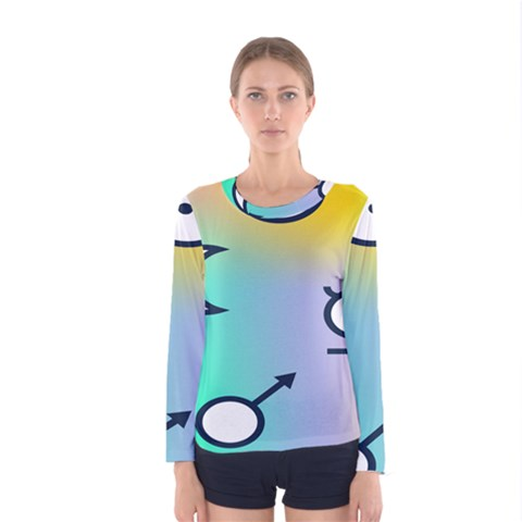 Illustrated Moon Circle Polka Dot Rainbow Women s Long Sleeve Tee by Mariart