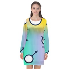 Illustrated Moon Circle Polka Dot Rainbow Long Sleeve Chiffon Shift Dress  by Mariart