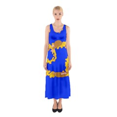 Illustrated 69 Blue Yellow Star Zodiac Sleeveless Maxi Dress