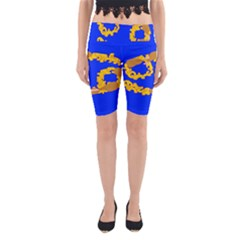 Illustrated 69 Blue Yellow Star Zodiac Yoga Cropped Leggings