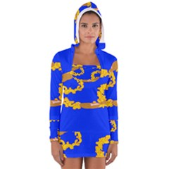 Illustrated 69 Blue Yellow Star Zodiac Women s Long Sleeve Hooded T Shirt by Mariart