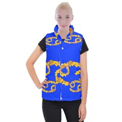 Illustrated 69 Blue Yellow Star Zodiac Women s Button Up Puffer Vest by Mariart