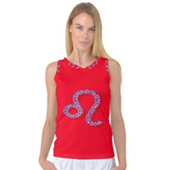 Illustrated Zodiac Red Purple Star Polka Dot Women s Basketball Tank Top