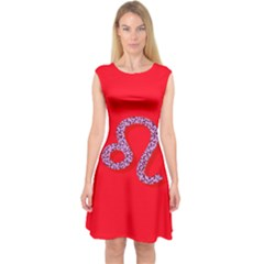 Illustrated Zodiac Red Purple Star Polka Dot Capsleeve Midi Dress by Mariart