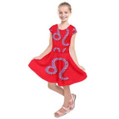 Illustrated Zodiac Red Purple Star Polka Dot Kids  Short Sleeve Dress by Mariart
