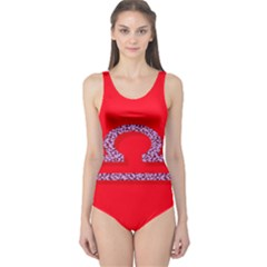 Illustrated Zodiac Red Purple Star Polka One Piece Swimsuit by Mariart