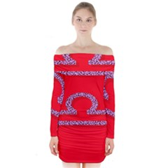 Illustrated Zodiac Red Purple Star Polka Long Sleeve Off Shoulder Dress by Mariart
