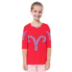 Illustrated Zodiac Red Star Purple Kids  Quarter Sleeve Raglan Tee