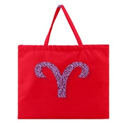 Illustrated Zodiac Red Star Purple Zipper Large Tote Bag by Mariart