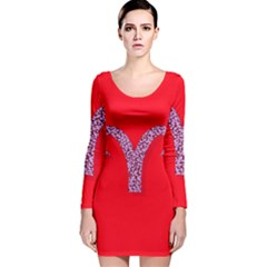 Illustrated Zodiac Red Star Purple Long Sleeve Velvet Bodycon Dress by Mariart