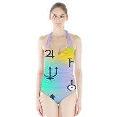 Illustrated Zodiac Star Halter Swimsuit by Mariart